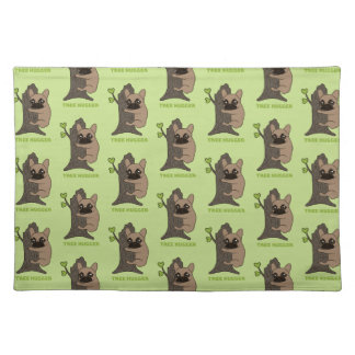Black mask fawn Frenchie is a cute tree hugger Place Mat