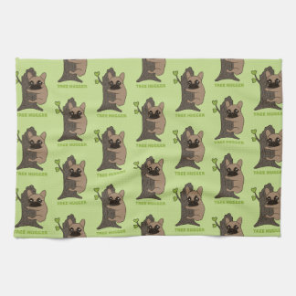 Black mask fawn Frenchie is a cute tree hugger Tea Towel