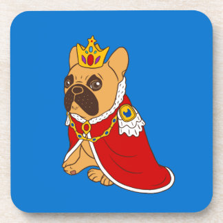 Black mask fawn Frenchie is the King of the house Coaster