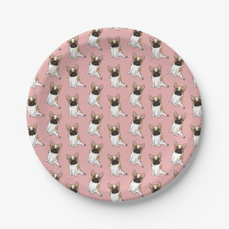 Black Mask Pied French Bulldog Wants Your Love Paper Plate