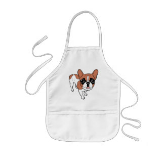 Black Mask Red Pied French Bulldog Kids Apron