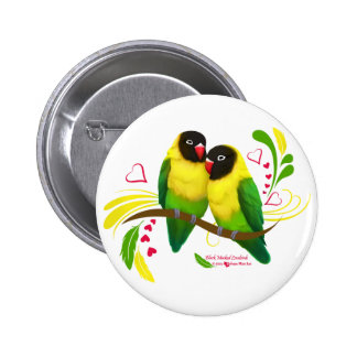 Black Masked Lovebirds 6 Cm Round Badge