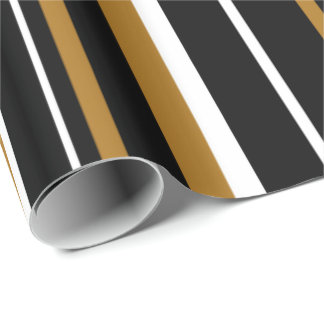 Black, Matte Gold, & White Stripe Wrapping Paper