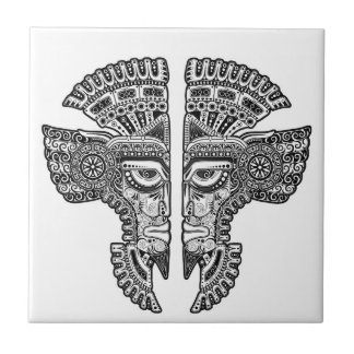 Black Mayan Twins Mask on White Tile