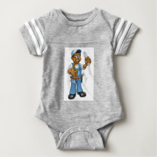 Black Mechanic or Plumber Handyman Baby Bodysuit