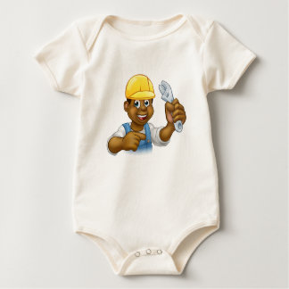 Black Mechanic or Plumber Handyman Baby Bodysuit
