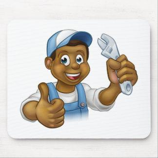 Black Mechanic or Plumber Handyman Mouse Pad