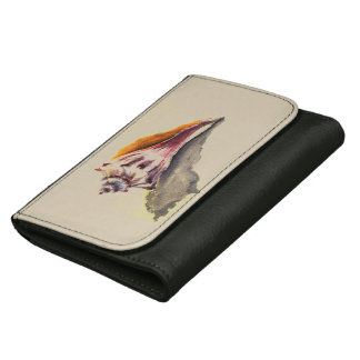 Black Medium Leather Wallet with Sea Shell