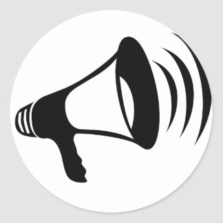 Black Megaphone Round Sticker