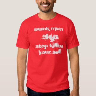 black men, s, k, y, s, stop killing your self t-shirts