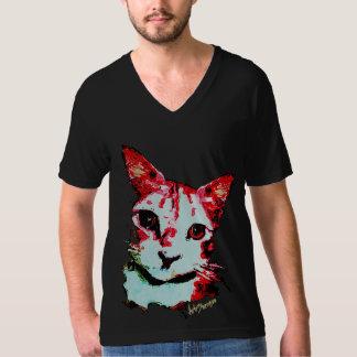 Black Men T-shirt Red Cat