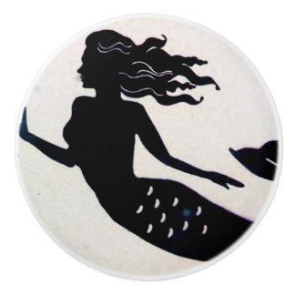 black mermaid ceramic knob