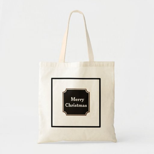 Black Merry Christmas Holiday Shopping Tote Bag