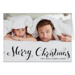 Black Merry Christmas Script Holiday Photo Card