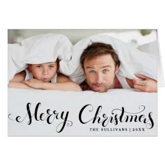 Black Merry Christmas Script Holiday Photo Card