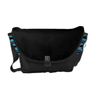 Black Messenger Bag with Turquoise Stripes Sides