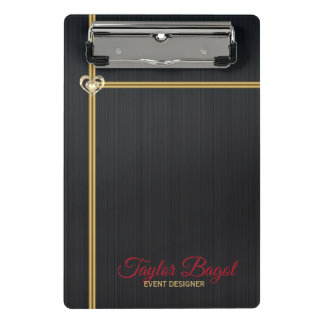 Black Metal Background Gold Stripes Mini Clipboard