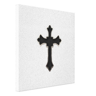 Black Metal Cross Gallery Wrapped Canvas