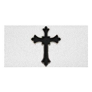 Black Metal Cross Personalised Photo Card