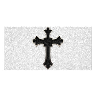 Black Metal Cross Personalized Photo Card