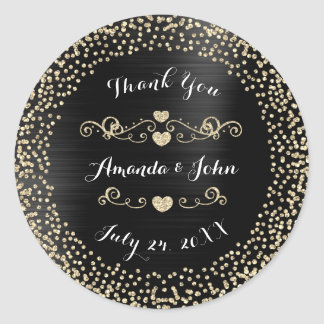 Black Metal Gold Glitter Save the Date Thank You Round Sticker