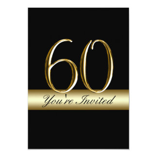 "Black Metal Gold Print 60th Birthday Invitations 5"" X 7"" Invitation Card"