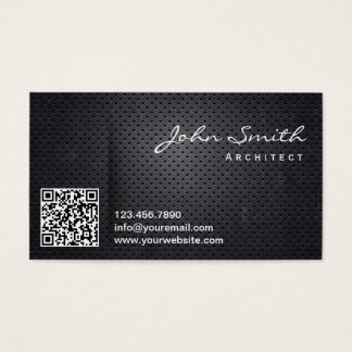 Black Metal QR Code Architect Business Card