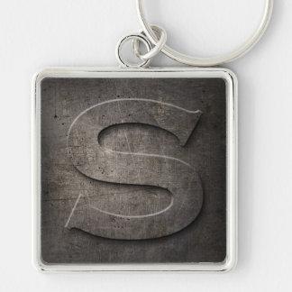 Black Metal Rustic S Monogram Keychain