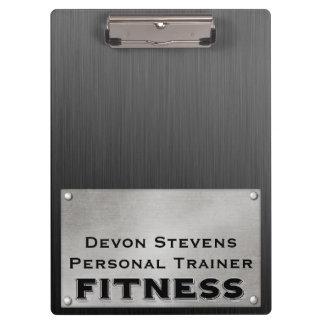 Black Metal Silver Fitness Clipboard