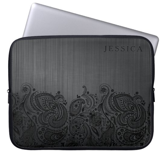 Black Metallic Background & Black Paisley Lace Laptop Sleeve