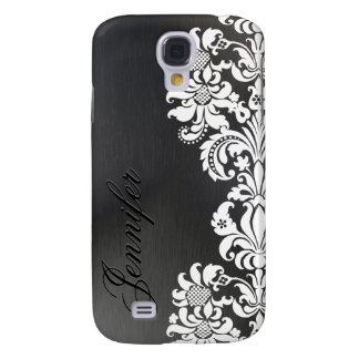 Black Metallic Background & White Floral Lace Galaxy S4 Covers