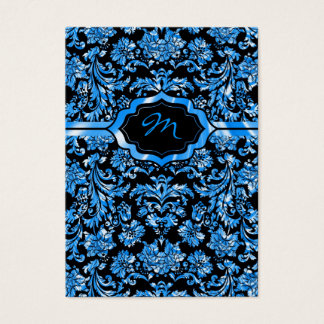 Black & Metallic Blue Floral Damasks Monogramed Business Card