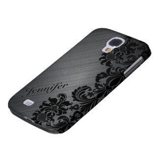 Black Metallic Brushed Aluminum & Floral Damasks 2 Galaxy S4 Covers