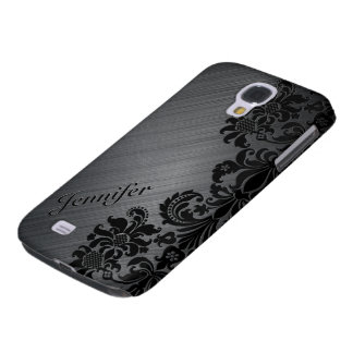 Black Metallic Brushed Aluminum & Floral Damasks 2 Samsung Galaxy S4 Cover