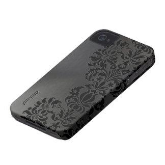 Black Metallic Brushed Aluminum & Floral Damasks iPhone 4 Covers