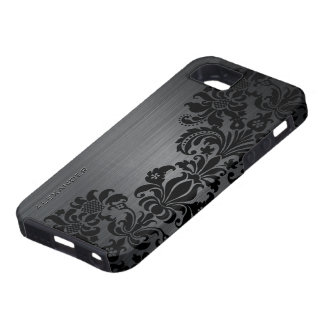 Black Metallic Brushed Aluminum & Floral Damasks Tough iPhone 5 Case
