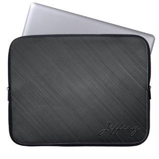 Black Metallic Design-Brushed Aluminum Look 2 Laptop Sleeve