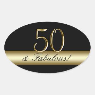 Black Metallic Gold 50th Birthday Oval Sticker