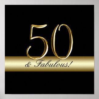 Black Metallic Gold 50th Birthday Poster