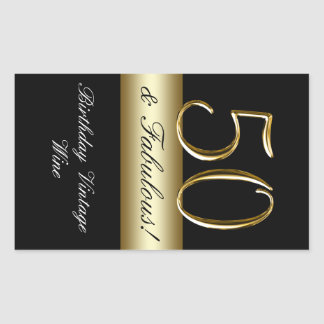 Black Metallic Gold 50th Birthday Wine Label Rectangular Sticker