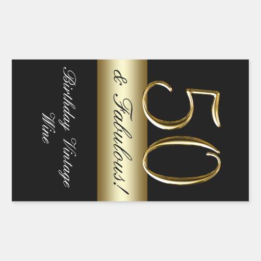 Black Metallic Gold 50th Birthday Wine Label Stickers
