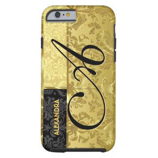 Black & Metallic Gold Floral Damasks Tough iPhone 6 Case