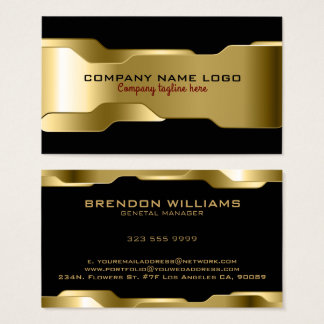 Black & Metallic Gold Geometric Design Business Card