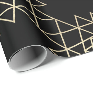 Black Metallic Gold Hexagon Geometry Champaign Wrapping Paper