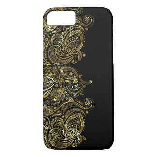 Black & Metallic Gold Print Floral Lace iPhone 8/7 Case
