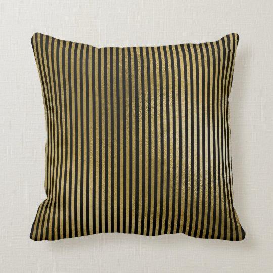 Black Metallic Gold Stripes Lines Minimal Luxury Cushion