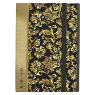 Black & Metallic Gold Vintage Floral Damasks iPad Air Case