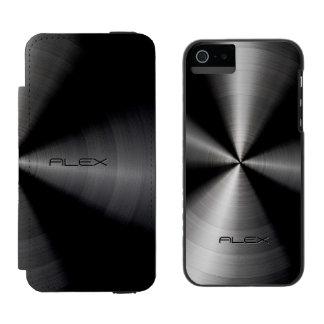 Black Metallic Pattern Stainless Steel Look Incipio Watson™ iPhone 5 Wallet Case