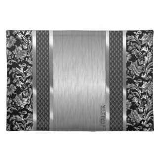 Black & Metallic Silver Brushed Steel And Damask Placemat