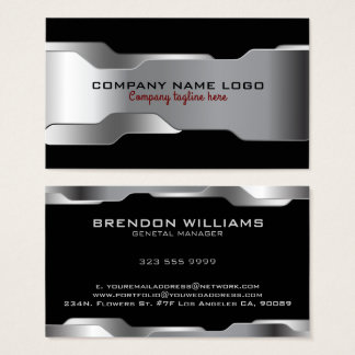 Black & Metallic Silver Geometric Design Business Card